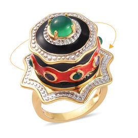 GP - Verde Onyx, Amethyst and Blue Sapphire Enamelled Cake Ring 14K Gold Overlay Sterling Silver 2.0