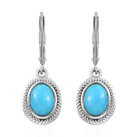 Arizona Sleeping Beauty Turquoise (Ovl) Earrings in Platinum Overlay Sterling Silver 2.00 Ct.