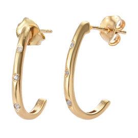 Diamond (Rnd) J Hoop Earrings in 14K Gold Overlay Sterling Silver