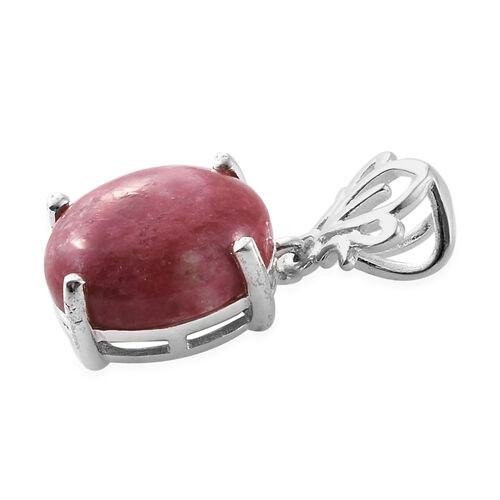 Norwegian Thulite (Ovl 12x10 mm) Pendant in Sterling Silver 5.250  Ct.