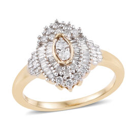 9K Yellow Gold SGL CERTIFIED Diamond (Rnd and Bgt) (I3/ G-H) Ring 0.500 Ct.