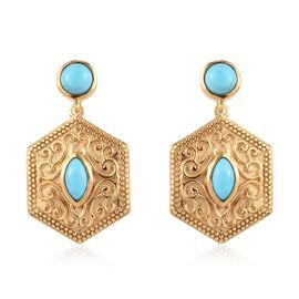 Arizona Sleeping Beauty Turquoise Dangle Earrings (with Push Back) in 14K Gold Overlay Sterling Silv