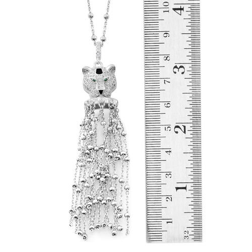Designer Inspired-ELANZA AAA Simulated Diamond (Rnd) Leopard Head Pendant with Chain (Size 32 with 1 inch Extender) in Rhodium Plated Sterling Silver.Silver Wt 16.01 Gms. No. of Simulated Diamond 108