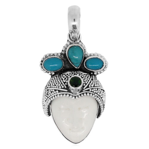 Princess Bali Collection OX Bone Carved Face (Ovl), Arizona Sleeping Beauty Turquoise and Russian Diopside Pendant in Sterling Silver 13.586 Ct. Silver wt 8.70 Gms.