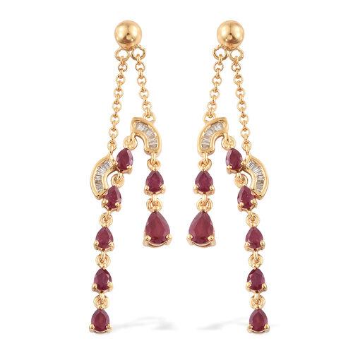 Designer Inspired-African Ruby (Pear), Diamond Earrings (with Push Back) in 14K Gold Overlay Sterlin