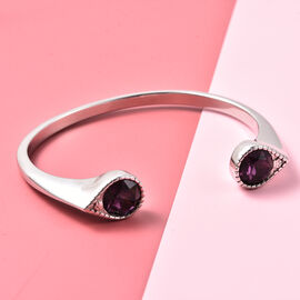 J Francis Crystal from Swarovski Amethyst Crystal Cuff Bangle (Size 7.5) in Stainless Steel