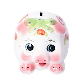 Ceramic Cute Piggy Coin Bank (Size 14x12 Cm) - Green and White