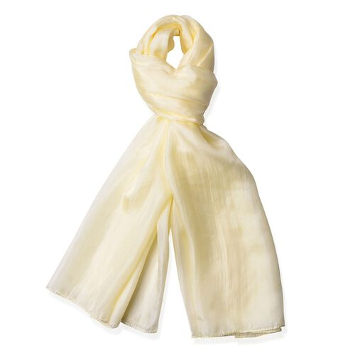 New Season - 100% Mulberry Silk Yellow Colour Scarf (Size 180X100 Cm)
