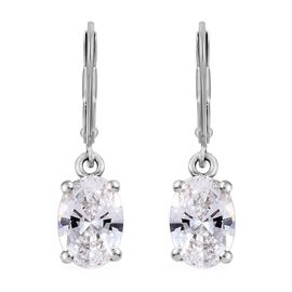 J Francis - Platinum Overlay Sterling Silver (Ovl) Lever Back Earrings Made with SWAROVSKI ZIRCONIA,