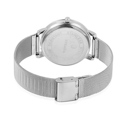 STRADA Japanese Movement White Austrian Crystal Studded Water Resistant Watch in Silver Tone with Mesh Chain Strap