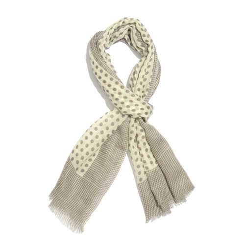 100% Merino Wool Cream and Grey Colour Polka Dots Pattern Scarf with Fringes (Size 170X70 Cm)