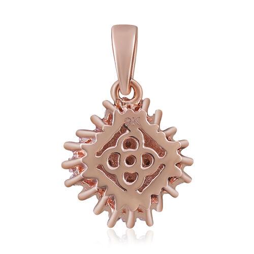 Natural Pink Diamond (0.25 Ct) 9K R Gold Pendant  0.250  Ct.