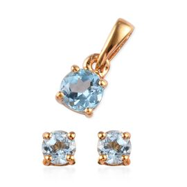 2 Piece Set - Sky Blue Topaz (Rnd) Solitaire Stud Earrings (with Push Back) and Pendant in 14K Gold