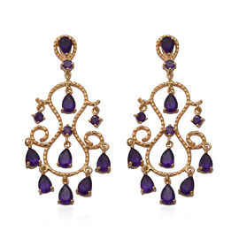 Lusaka Amethyst Dangle Earrings (with Push Back) in Yellow Gold Overlay Sterling Silver 6.88 Ct, Sil
