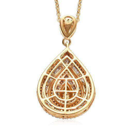 Diamond (Rnd and Bgt) Pendant with Chain (Size 20) in 14K Gold Overlay Sterling Silver 1.00 Ct.