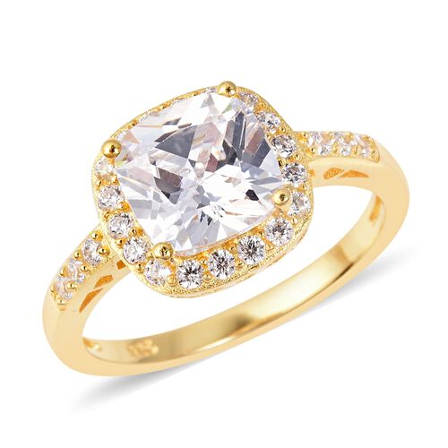 One Time Deal- ELANZA Simulated White Diamond (Cush 8.0 mm) Ring in Yellow Gold Overlay Sterling Sil