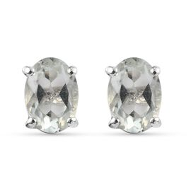 Prasiolite Earring in Platinum Overlay Sterling Silver 1.70 ct  1.700  Ct.