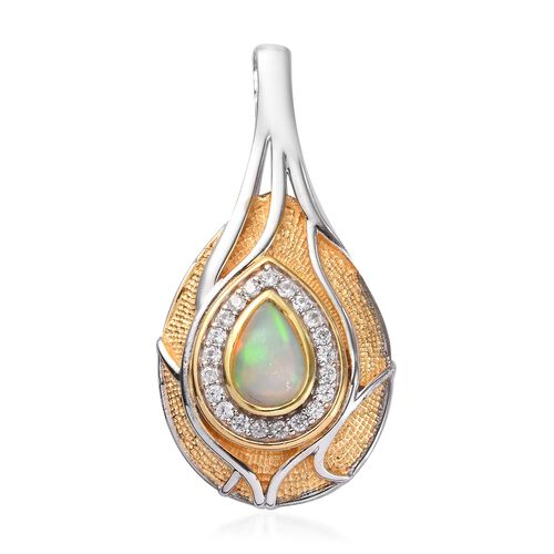 Ethiopian Welo Opal and Natural Cambodian Zircon Pendant in Platinum and Yellow Gold Overlay Sterlin