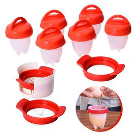 7 Piece Set - Nonstick Silicone 6 Egg Boiler (9x9x7 Cm) and 3 Different Stainless Steel Slicer (Size