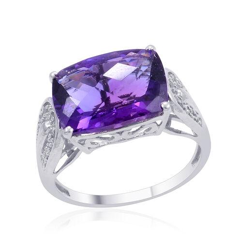 Zambian Amethyst (Cush 6.25 Ct), Diamond Ring in Platinum Overlay Sterling Silver 6.350 Ct.
