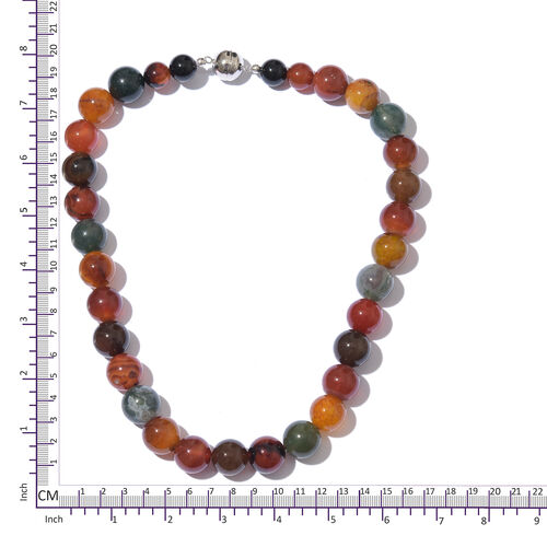 One Tme Deal-Rainbow Colour Agate (Ball) Necklace (Size 20) in Platinum Overlay Sterling Silver 750.000 Ct.
