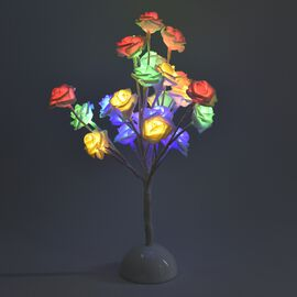 Home Decor - Pink Rose Flower Multicolour LED Table Lamp (Size 40 Cm)(3xAA Battery not Included) - W