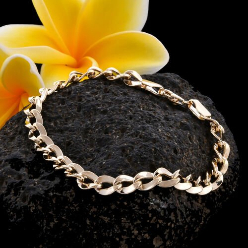 Royal Bali Collection - 9K Yellow Gold Curb Bracelet (Size 7) with Lobster Clasp, Gold wt 4.90 Gms