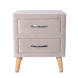 Wooden Upholstered Cabinet with 2 Drawer (Size 50x44x40 Cm) - Beige