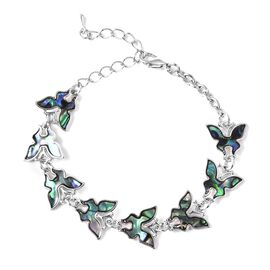 Abalone Shell Butterfly Bracelet (Size 6.75 with 2 inch Extender) in Silver Tone