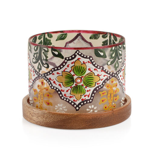 White, Green and Multi Colour Floral and Leaves Hand Painted Candle Stand with Wooden Base (Size 11X9 Cm)