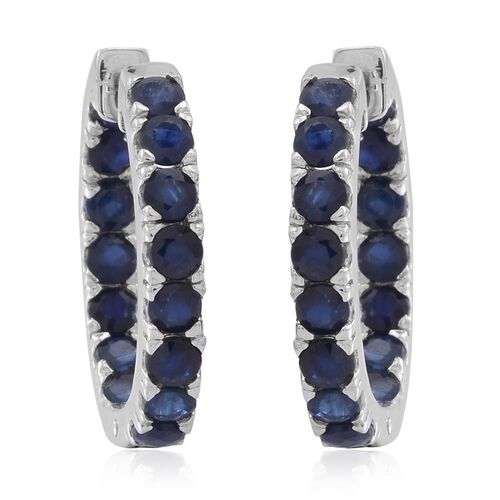 Kanchanaburi Blue Sapphire (Rnd) Hoop Earrings (with Clasp) in Rhodium Plated Sterling Silver 4.000 Ct.