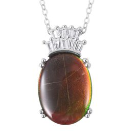 AA Canadian Ammolite (Ovl 16x12 mm), White Topaz Pendant With Chain (Size 18) in Rhodium Overlay Ste