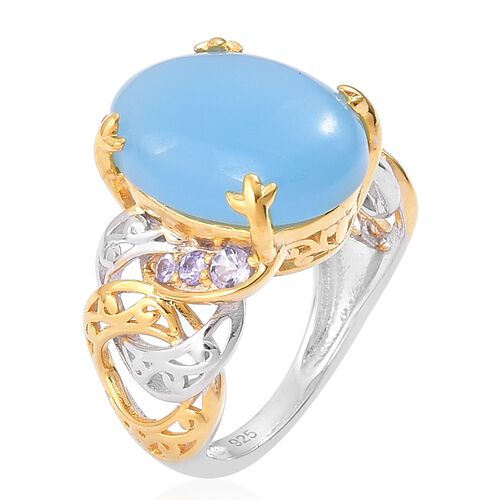 Blue Jade (Ovl), Tanzanite Ring in Yellow Gold and Rhodium Plated Sterling Silver 10.850 Ct. Silver wt. 5.94 Gms.