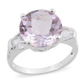 Rose De France Amethyst (Rnd), White Topaz Ring in Sterling Silver 3.61 Ct.