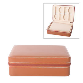 4 Slot Watches and 8 Ring Rows Jewellery Box with Zipper (Size 24x18x7.5 Cm), Brown Colour