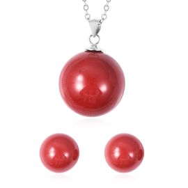 2 Piece Set - Red Colour Shell Pearl (Rnd) Pendant with Chain (Size 20) and Stud Earrings (with Push