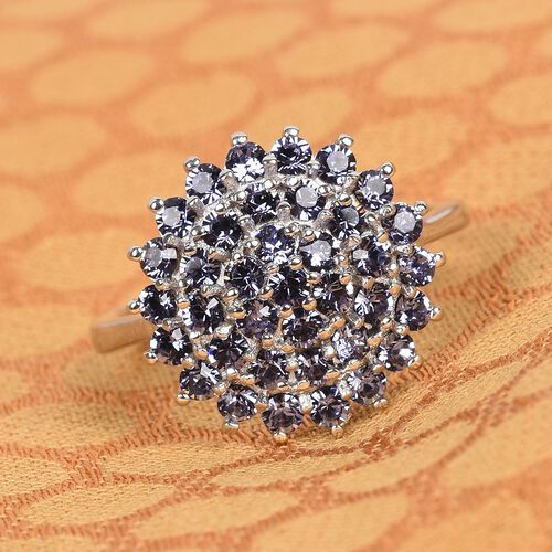 J Francis Crystal from Swarovski Tanzanite Colour Crystal Cluster Ring in Bronze and Platinum Overlay Sterling Silver