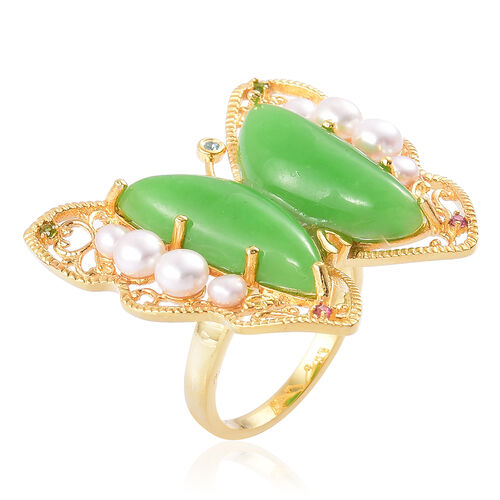 Green Jade, Fresh Water Pearl, Rhodolite Garnet, Swiss Blue Topaz and Russian Diopside Butterfly Ring in Yellow Gold Overlay Sterling Silver 18.110 Ct.