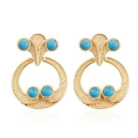 Arizona Sleeping Beauty Turquoise Earrings in 14K Gold Overlay Sterling Silver 2.25 Ct, Silver wt 7.