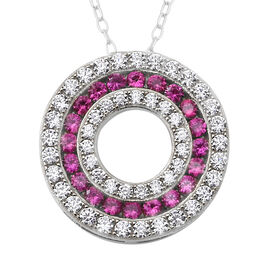 ELANZA Simulated Ruby (Rnd), Simulated Diamond Three Row Circle Pendant With Chain (Size 18) in Rhod