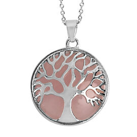 Rose Quartz (Rnd 25 mm) Tree of Life Pendant With Chain (Size 24) in Stainless Steel