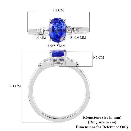 RHAPSODY 950 Platinum AAAA Tanzanite and (VS-EF) Diamond Ring 1.07 Ct.