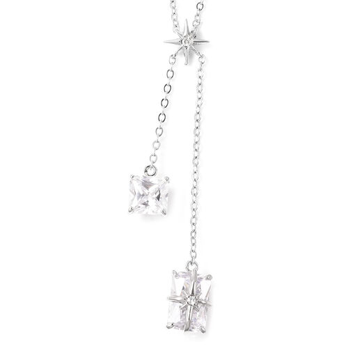 Set of 2 - Simulated Diamond Necklace (Size 20 with 3 inch Extender) & Earrings (with Push Back) in Silver Tone