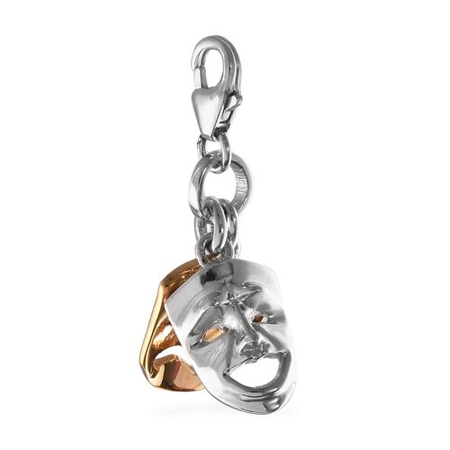 Platinum and Yellow Gold Overlay Sterling Silver Party Mask Charm