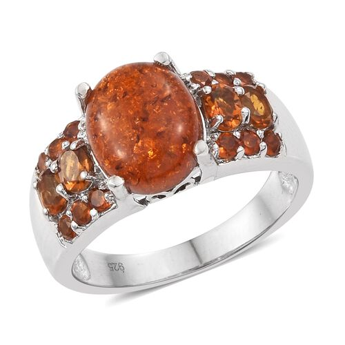 Baltic Amber (Ovl 1.45 Ct), Madeira Citrine Ring in Platinum Overlay Sterling Silver 2.500 Ct. Silver wt 5.32 Gms.