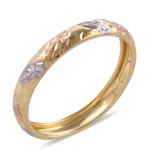 Royal Bali Collection 9K Yellow, White and Rose Gold Diamond Cut Band Ring