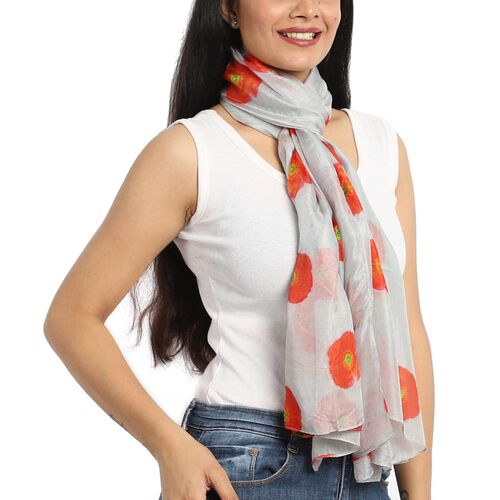 100% Mulberry Silk Red Poppy Print Scarf (180x100cm) - White