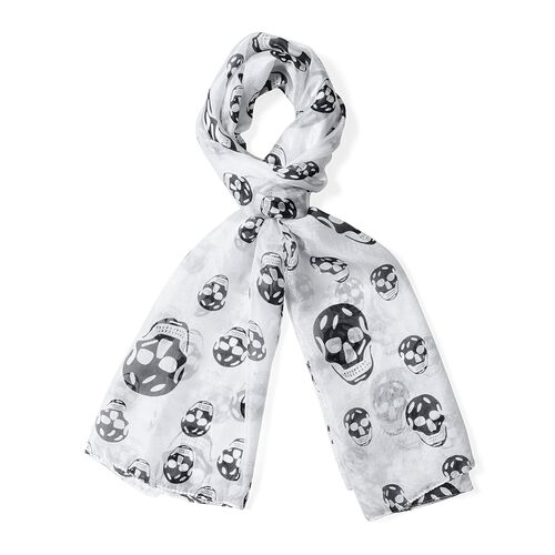 100%  Mulberry Silk White Colour Skull Pattern Scarf (Size 175x53)