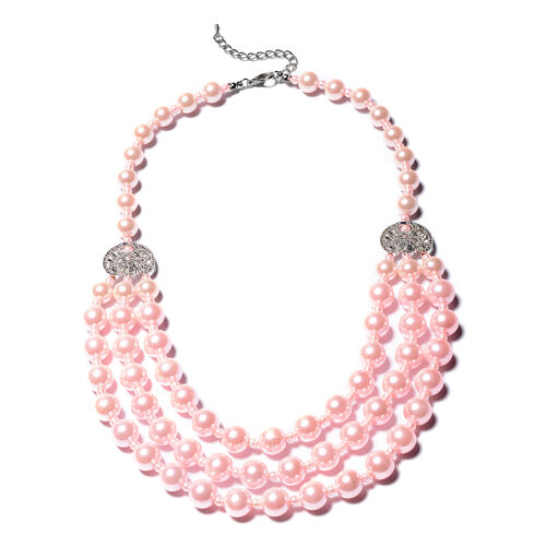 Simulated Pink Pearl Multi Strand Necklace (Size 20 with 3 inch Extender)