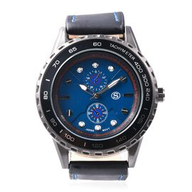 STRADA Japanese Movement Water Resistance Sporty Look Watch with Black Strap and Blue Dial